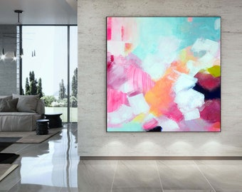 Pink Mint & Ice White Abstract Fine Art Print, Interior Design, Bright Contemporary Painting, Modern Home Decor, UK