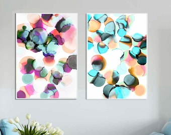 Blush and Green Abstract Fine Art Print Set of 2 Unique Ink Paintings, Home Decor, Interior design, Wall Art UK