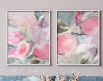 Sage & Peony Abstract Art Print Set, Soft Pastel Home Decor, Delicate Floral Wall Art, Mint Green Pink Art UK