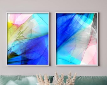 Sheer Blues, Soft Floral Abstract Art Print Set, Light Blue Contemporary Interior Design, Pale Pink Decor, Aesthetic Wall Art, UK