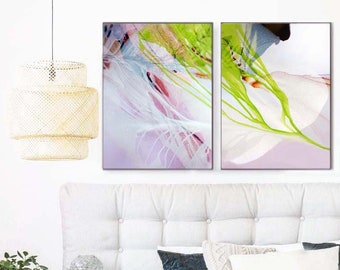 Blushing Ether Abstract Fine Art Print Set, Large Canvas, Lime Green Home Decor, Eclectic Unique Wall Art