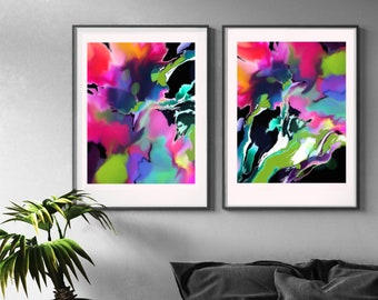Passion Flower Set of Abstract Floral Prints, Neon Pink Flowers, Bright Interior Design, Tropical Wall Art Decor, UK