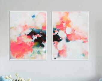 White Hydrangea Fine Art Print Set, Contemporary Home Decor, Floral Wall Art, Orange Blush Canvas Prints, UK Artist