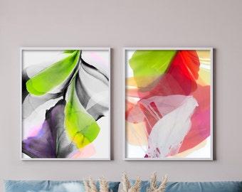 Limelight & Tomato Abstract Fine Art Print Set, Acid Green, Modern Interior Design, Unique Wall Art, Floral Prints