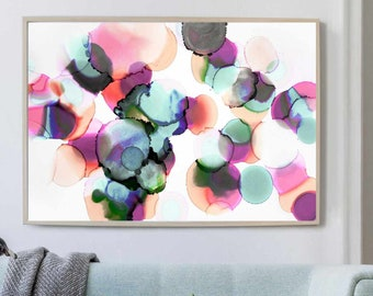 Blush Pink and Duck Egg Abstract Fine Art Print, Soft Grey Wall Decor, Modern Bright Bubble Art UK