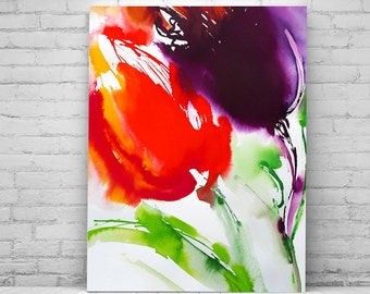 Bright Red Abstract Tulips Flowers Fine Art Print Ink Painting Atmosphere Home Decor Purple Watercolour Ink