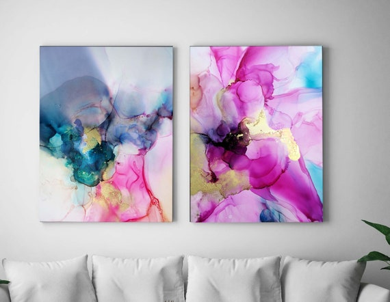 Amethyst & Violet Set of Abstract Fine Art Prints, Interior Design, Embellished Pink Floral Art, Jewel Tones, Gold leaf, Teal Wall Art