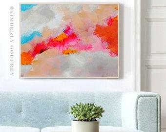 Tangerine Sky Abstract Print, Home Decor, Orange Interior Design, White Room Aesthetic Wall Art, UK artist