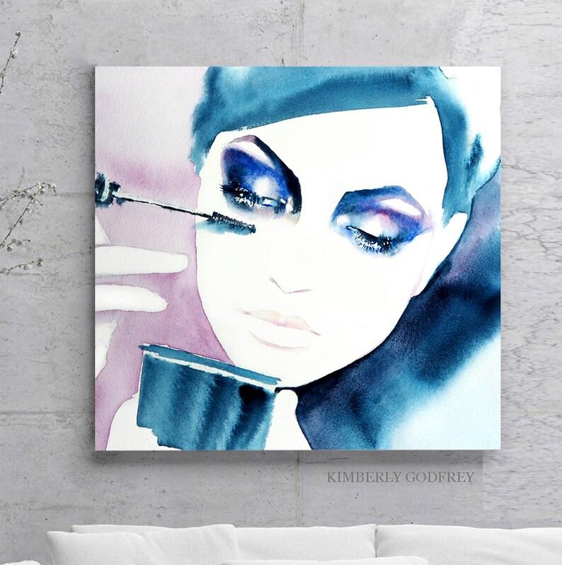 Beautiful Fashion Art Print Glam Model Kate Indigo Blue Mascara Salon Wall  Decor Cosmetic Artwork