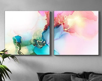 Set of 2 Abstract Fine Art Prints, Gold Leaf Ink Paintings, Pink Aesthetic Home Decor, Teal Wall Art, UK