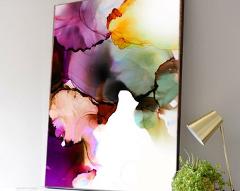Amethyst & Topaz Abstract Fine Art Print, Jewel Tones, Eclectic Decor, Beautiful Floral Art, Rich Colors