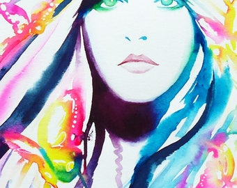 Retro 78 Fashion Illustration Art Print Original Watercolor '70s Hair Gypsy 1970s Blue Pink Bright Colors Butterflies salon decor