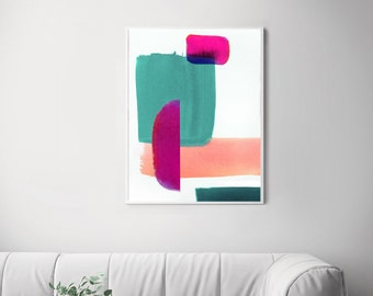 Mid Century Mint Green Abstract Print, Contemporary Interior Design, Modern Room Aesthetic, Peach Pink Wall Art UK
