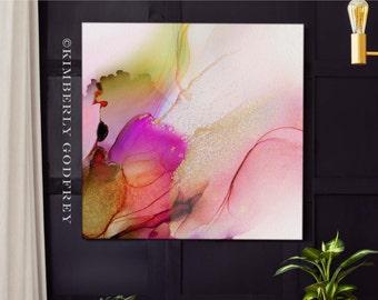 Blush Canna Lily Abstract Floral Fine Art Print, Dark Grey Decor, Livingroom, Pink Painting, Wall Art UK
