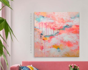 Lavenham Pink Sky Abstract Art Print, Bright Coral Home Decor, Blush Wall Art, Large Abstract Painting, UK artist