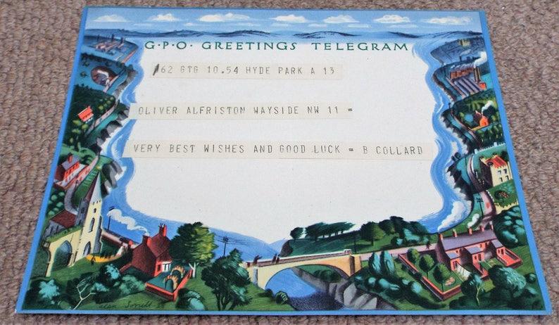 Post Office Vintage 1939 GPO Greetings Telegram Alan Sorrell