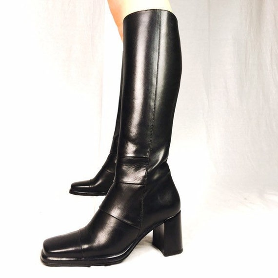 1fdc4d80becab Vintage 90s black leather square toe boots UK 3 EU 36 US 5.5