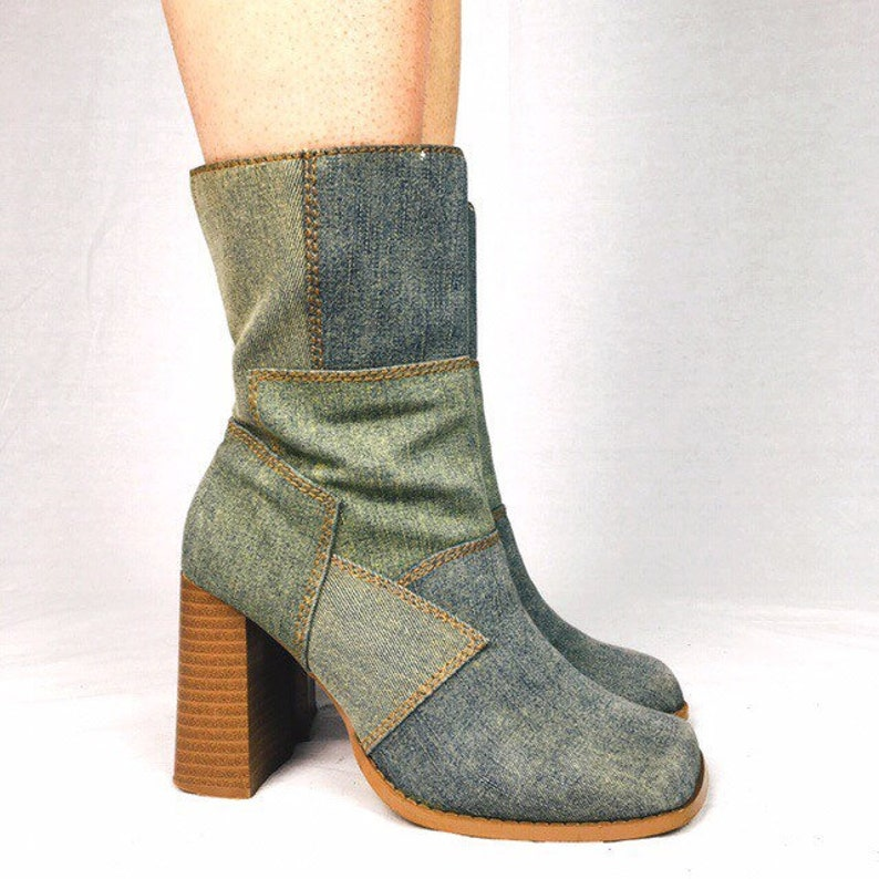 003c737e7a0 Vintage 90s Y2K blue patch denim jeans look chunky ankle boots booties UK 4  EU 37 US 6.5