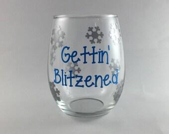 Christmas wine glasses, Gettin' Blitzened, Funny Stocking Stuffer, christmas gift, unique gift, gift ideas, white elephant