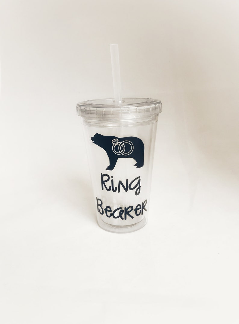 b5868dfff97 Ring Bearer Personalized Acrylic Tumbler Toddler or Youth Kid   Etsy