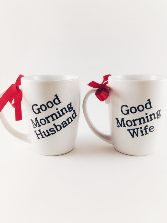 Valentines Day Couple Cups Good Morning Husband And Wife Etsy