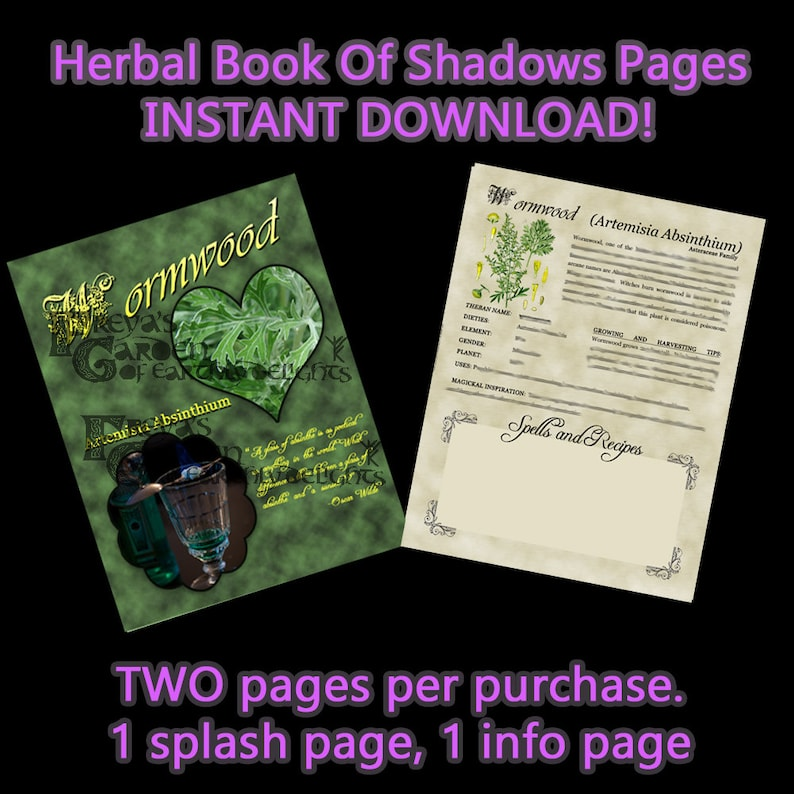 Wormwood Herbal Book Of Shadows Witches Herbal BOS image 0
