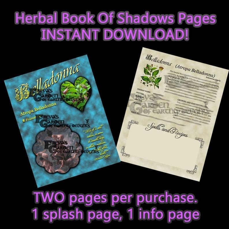 Belladonna Herbal Book Of Shadows Witchcraft Supply Digital image 0