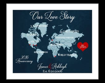 1 10 Year Anniversary Gift For Him, 10th Wedding Anniversary Husband, 10 Year Anniversary, Her, 10th Anniversary Gifts For Men Wife Present