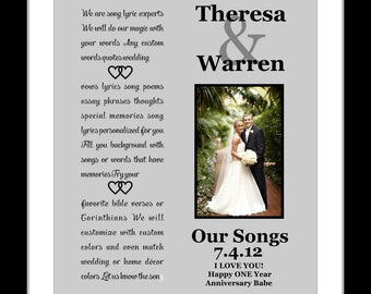 Custom anniversary gift song lyric print any personalized etsy 1st first wedding anniversary gift for him her wife husband couple wedding song lyrics vows present giclee print her him stopboris Choice Image