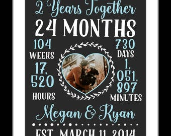 2 Year Anniversary Gifts For Boyfriend Etsy