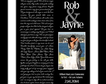 Custom Anniversary Gift Song Lyric Print, ANY Personalized Wedding Song Lyrics Vows and Photo Unique Wedding Anniversary Gift For Men Wife