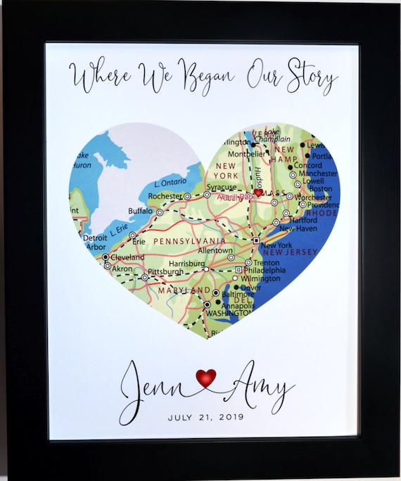 Engagement Gift Heart Map Personalized Engagement Gift For Couple Where We Got Engaged Custom Heart Art Prints Proposal Present