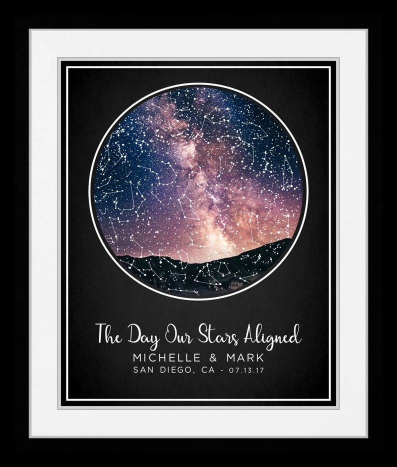 S Star Night Sky Print Stars Custom Map Personalized First Anniversary Gift  for Him Her Nursery Decor Girl Baby your 1442