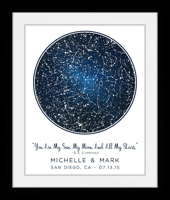 Location Star Map Constellation Chart Personalized Gift For - Star map from my location