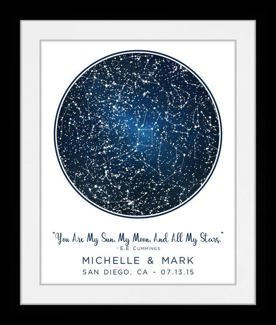 Star Map By Date And Location.1 Location Star Map Constellation Chart Personalized Gift For Etsy