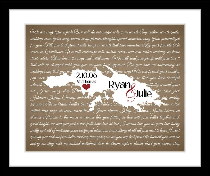 image 0 ...  sc 1 st  Etsy & Her favorite song anniversary gifts for women map 1st   Etsy