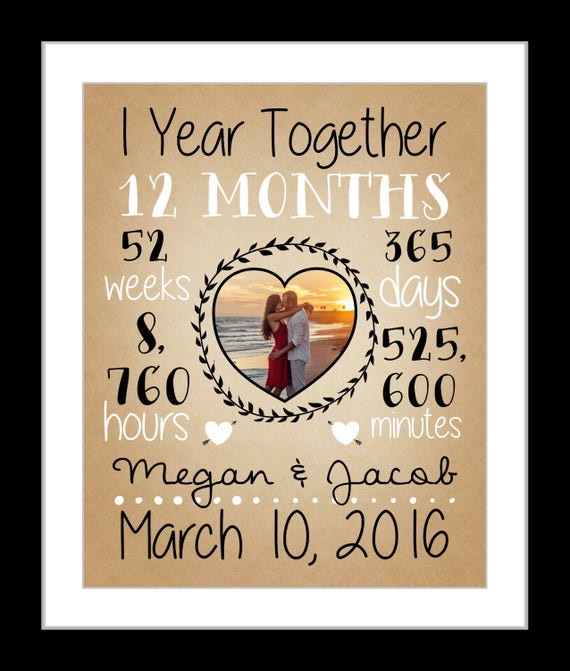1 year wedding anniversary present first year paper | Etsy