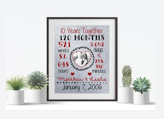 10th Wedding Anniversary Gift 10th Anniversary Gift Gifts For Etsy