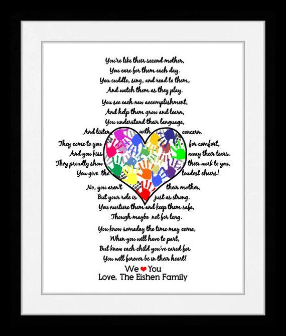 Je Vous Remercie Cadeau Pour La Nounou Baby Sitter Enseignante Préscolaire Cadeau Pour Le Poème De Fournisseur De Service De Garde Toile Et