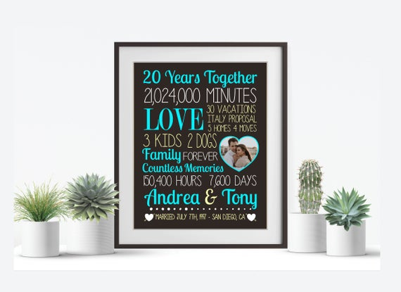 20th Wedding Anniversary Gift For Wife: 20 Year Anniversary Gift For Husband Wife Parent 20th