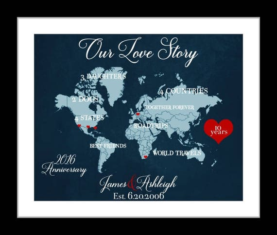 1 10 Year Anniversary Gift For Him 10th Wedding Anniversary Etsy