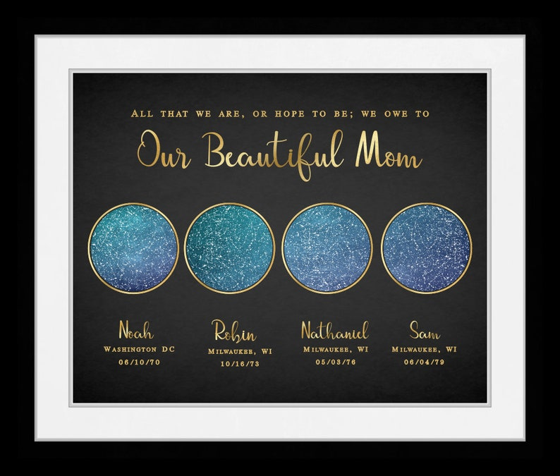 Personalized Mothers Day Gift Sky Map Stars For Mom From