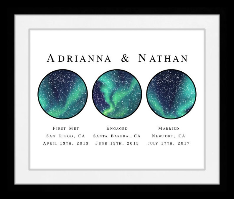 Astrologischer Erster Jahrestag Geschenk Für Ihn Engagement Geschenk Paar Coole Geschenkidee Gerahmt Möglichkeit Benutzerdefinierte Nachthimmel