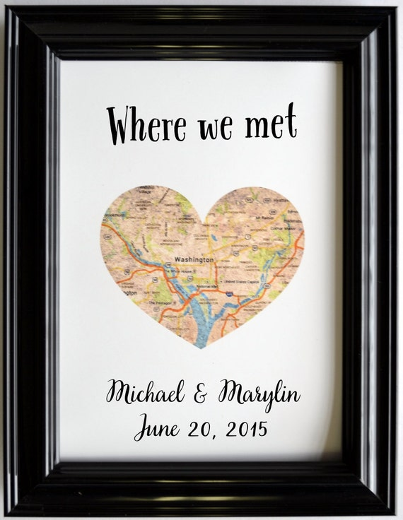 Custom Wedding Anniversary Gift For Couples Personalized Map Etsy