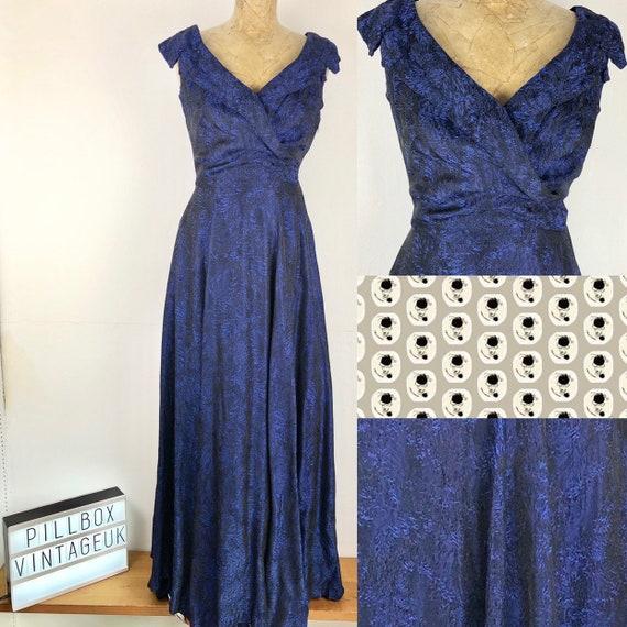 1940s handamde blue evening dress