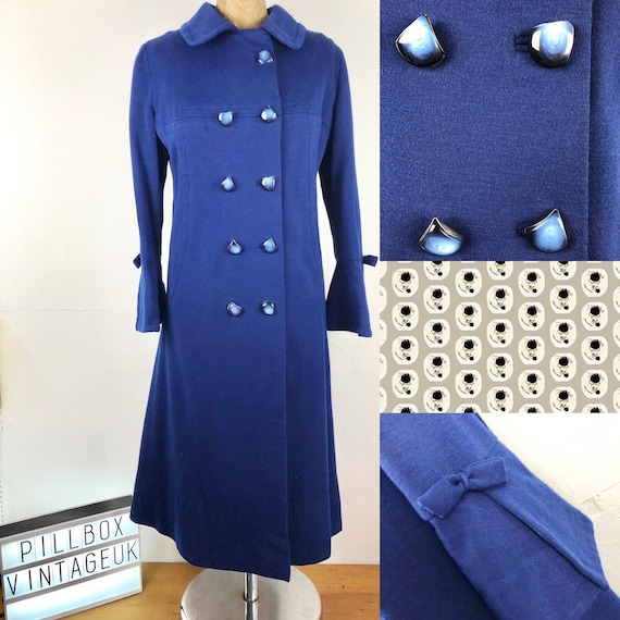 1940s wool lined blue coat with original buttons