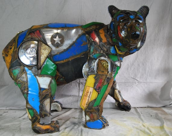 Large Outdoor Custom Made Metal Bear Sculpture Made Out of Found Objects By Jacob Novinger