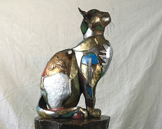 Outdoor/Indoor Life-size Custom Metal Patchwork Found Object Cat Sculpture by Jacob Novinger
