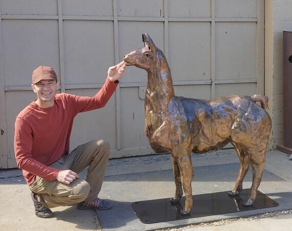 Made to Order Custom Garden Outdoor Metal Llama Art Sculpture by Jacob Novinger