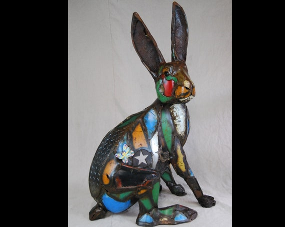Made to Order Large Outdoor Metal Rabbit Sculpture Made Out of Found Object by Jacob Novinger